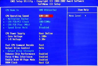 BIOS set to 6 x 100