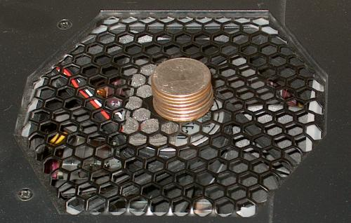 foam and coins used to damp top fan ringing